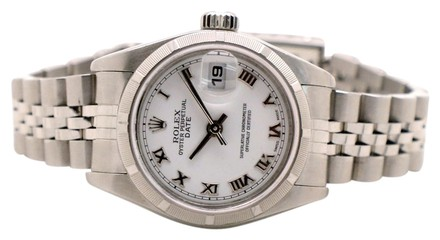 Rolex Stainless Steel Date 79190 White Roman Dial 26mm Ladies Watch