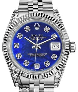 Rolex Womans Rolex 26mm Datejust Blue Treated Mop Mother Of Pearl Diamond