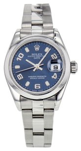 Rolex Women's Oyster Perpetual Date 79160 Watch in Stainless Steel with Blue Arabic Dial RLXLSD6