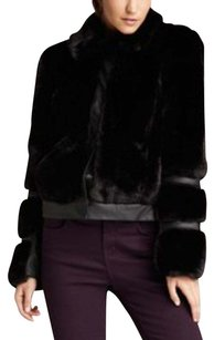 Romeo & Juliet Couture Faux Fur Faux Leather Panel Inserts Soft Fur Coat