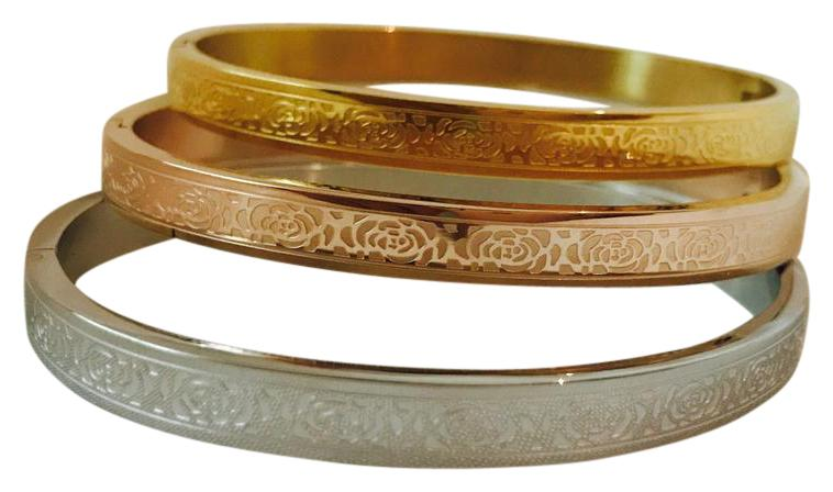 Rose Engraved Stainless Steel Bangle
