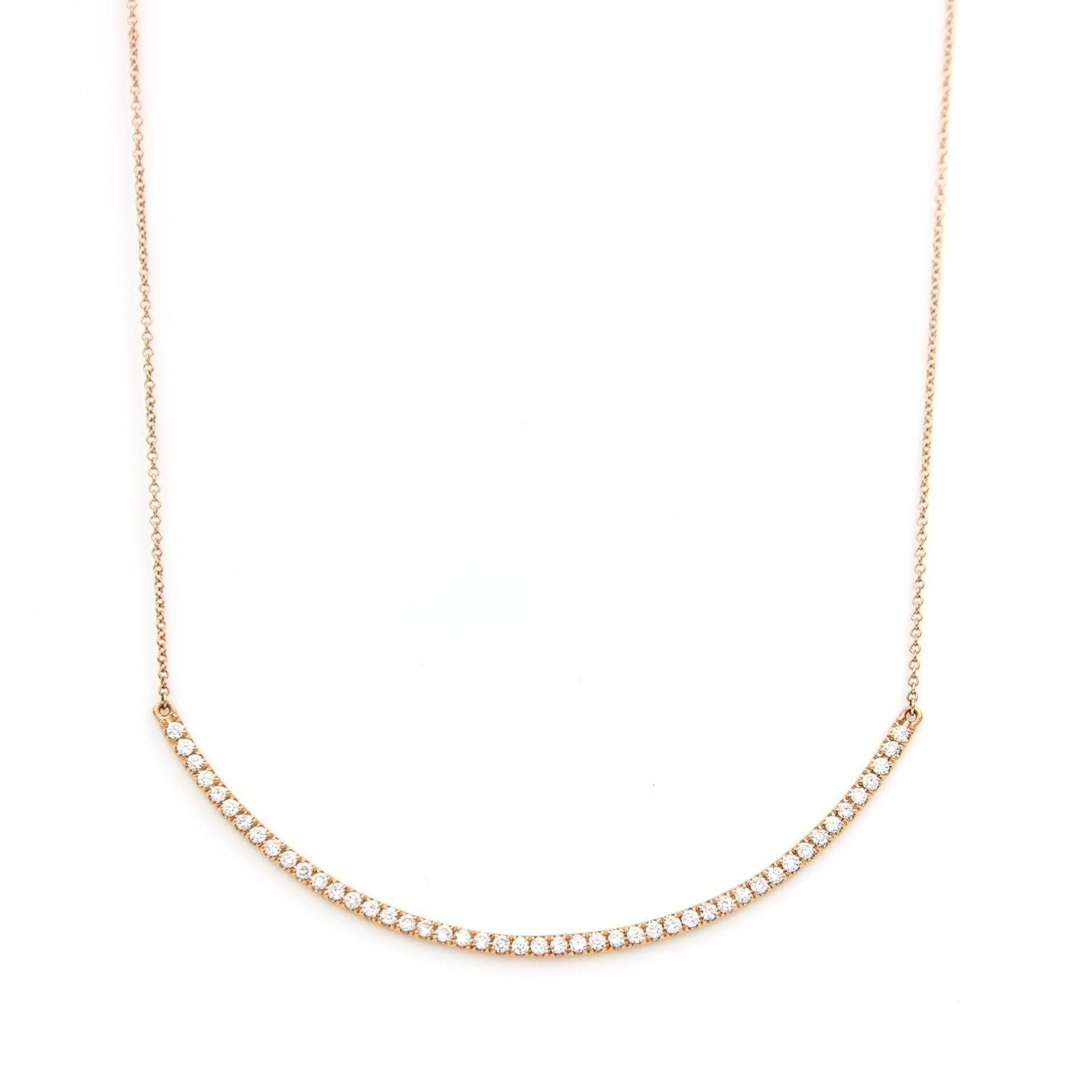 Rose Gold Curved Diamond Bar 18k 18 Necklace Tradesy