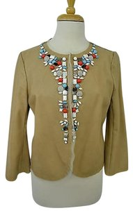 Rozae Nichols Beige Genuine Leather Embellished Beading Tan Jacket
