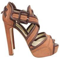 Rupert Sanderson Leather Platform Strappy Brown Platforms