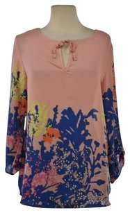 Sabine Womens Floral 34 Sleeve Shirt Casual Top Pink