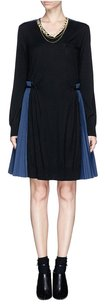 sacai short dress Black Navy Blue Sweater Flare Pleated Chic on Tradesy