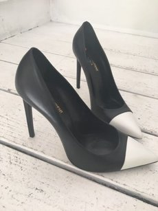 Saint Laurent Paris Black and White Pumps