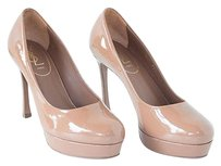 Saint Laurent Yves Ysl Light Patent Leather Round Toe Nwd Brown Pumps