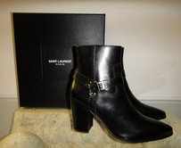 Saint Laurent Leather Italian Luxury Box Black Boots