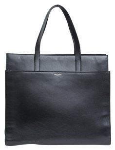 Saint Laurent Leather Structured Tote in Black