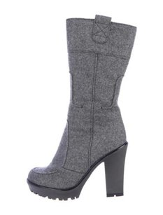 Saint Laurent Yves Womens Gray Boots