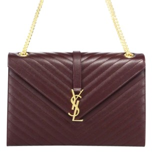 Saint Laurent Monnegrmme Gold Wine Shoulder Bag