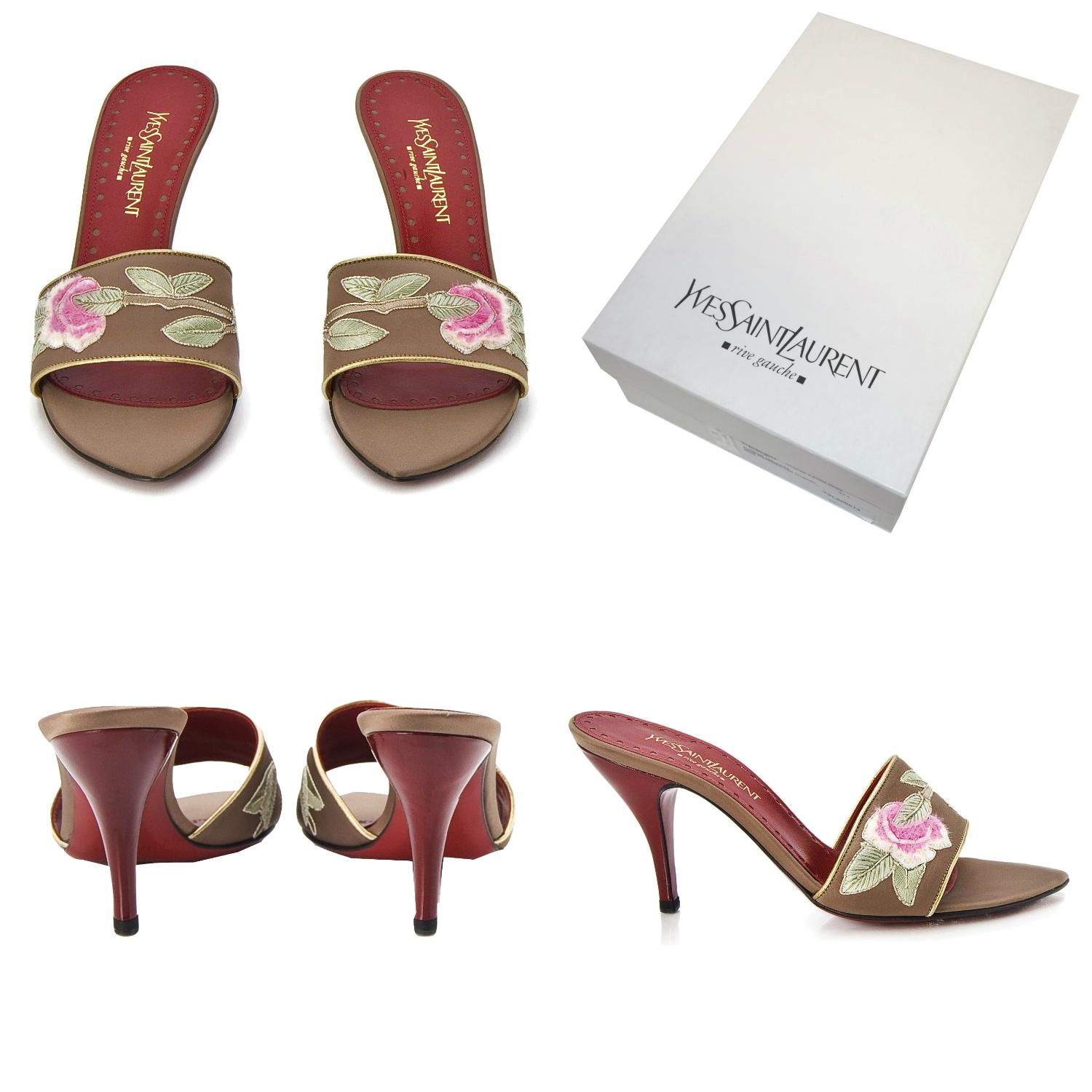 05f1a818431b Saint Laurent New Ysl Tom Ford with Era Famous Lotus Heels with Ford Box  and Dust Cover Mules Slides Size EU 37 (Approx. US 7) Regular (M