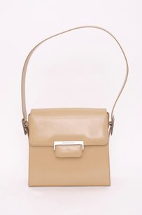 Saint Laurent Ysl Vtg Nude Smooth Shiny Leather Silver Buckle Flap Shoulder Bag