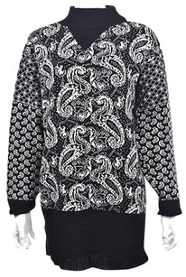 Saint Laurent Yves Womens Black Turtleneck Printed Wool Sweater