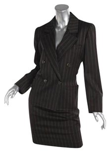 Saint Laurent Vintage Yves Saint Laurent Brown Striped Wool Silk Skirt Suit Sz.