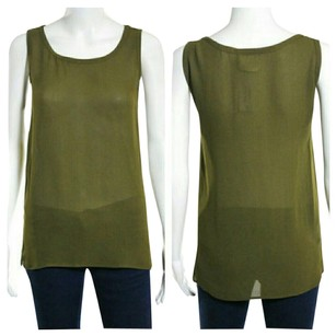 Saint Laurent Ysl Yves Yves St. Laurent St. Laurent Viscose Viscose Sheer Sheer Sheer Top Olive Green