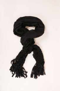 Saint Laurent Yves Saint Laurent Black Silk Lightweight Woven Trim Fringe Scarf