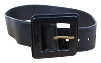 Saint Laurent Yves Saint Laurent Womens Black Textured Leather Casual Belt