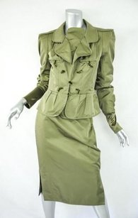 Saint Laurent Yves Saint Laurent Womens Olive Green Silk Blazerskirt Suit Set Outfit 4042