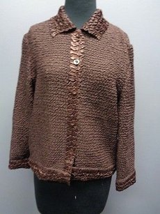 Saint Tropez West St Brown Stretchy Crinkle Polyester Button Down Cardigan Sm8044 Sweater