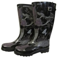Sakroots Sak Fur Lined Warm Rain Rainboot black tonal peace print black grey purple Boots