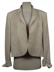 Saks Fifth Avenue Saks Fifth Avenue Womens Creme Paisley Metallic Blazer Wtw Jacket