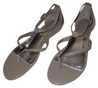 Saks Fifth Avenue Patent Leather Silver Hardware Strappy Gray Sandals