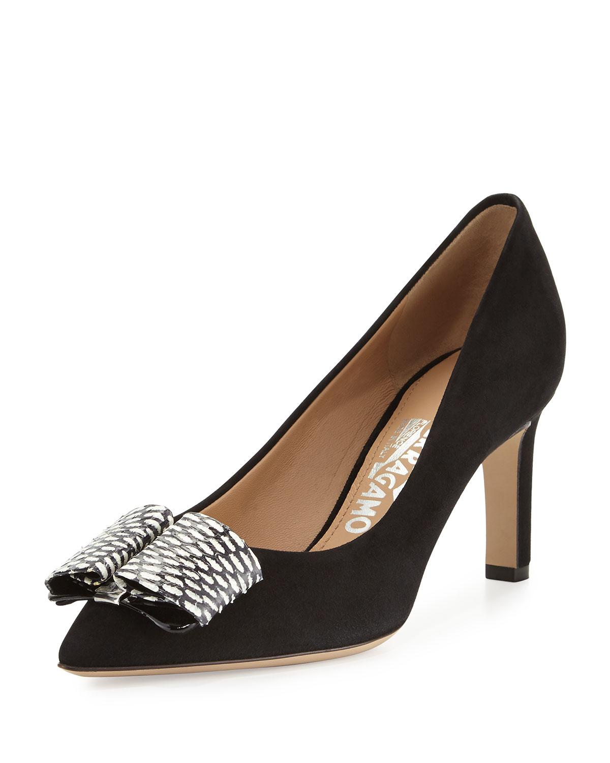 sale prices outlet new Salvatore Ferragamo Rounded Square-Toe Suede Pumps outlet tumblr 2015 new online official site sale online RcTyjibGLt
