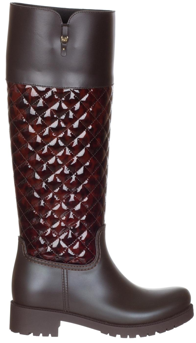 Salvatore Ferragamo Brown Women's Raphael Quilted Rubber Leather Knee High Boots/Booties Size US 6 Regular (M, B)