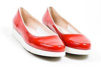 Salvatore Ferragamo White Red Flats