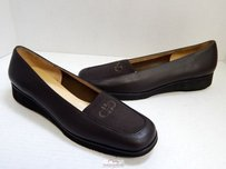 Salvatore Ferragamo Leather Nylon Wedge Loafers 2a Italy Brown Flats