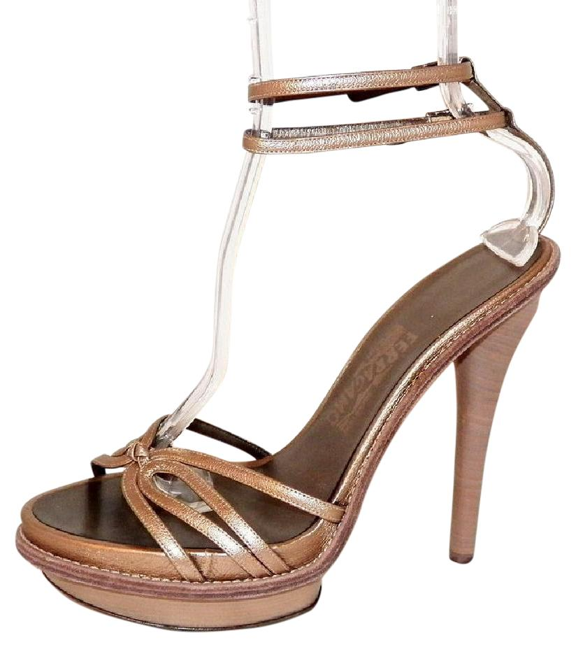 with paypal free shipping outlet largest supplier Salvatore Ferragamo Metallic Ankle Strap Sandals clearance shop offer wLVNIiWMi