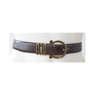 Salvatore Ferragamo Salvatore Ferragamo Dark Brown Leather Gold Tone Oval Buckle Belt 75