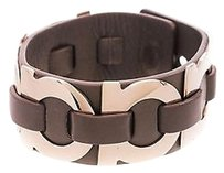 Salvatore Ferragamo Salvatore Ferragamo Olive Leather Gold-tone Gancini Bracelet