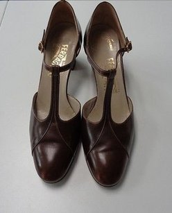 Salvatore Ferragamo Low Block Heels W Straps Leather B3381 Brown Pumps
