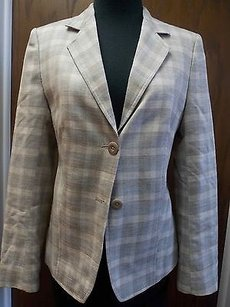Santorelli Santorelli Beige Cream Checker Wool Polyester Lined Two Button Blazer H371