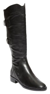 Sanzia Riding Leather Knee High Black Boots