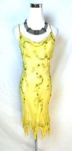 Scala short dress Yellow Silk Beaded Slip on Tradesy