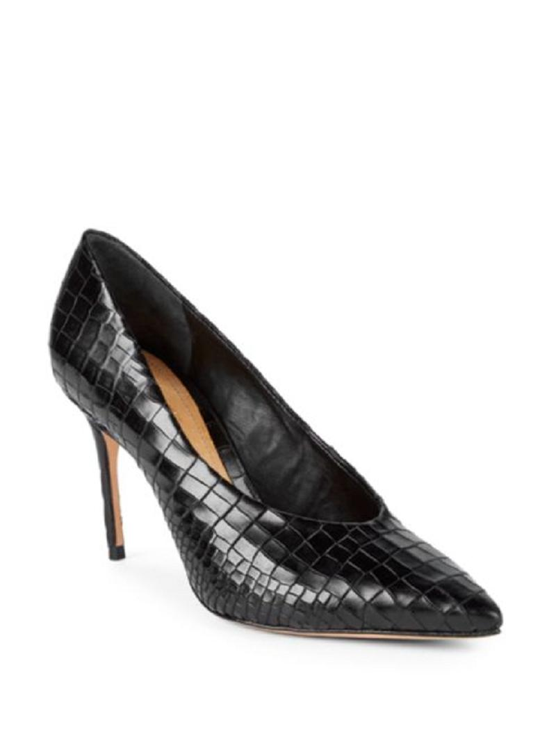 b69a8a3db SCHUTZ Black Salma Croc Textured Leather Pointed Pointed Pointed Toe Pumps  Size US 7.5 Regular (M