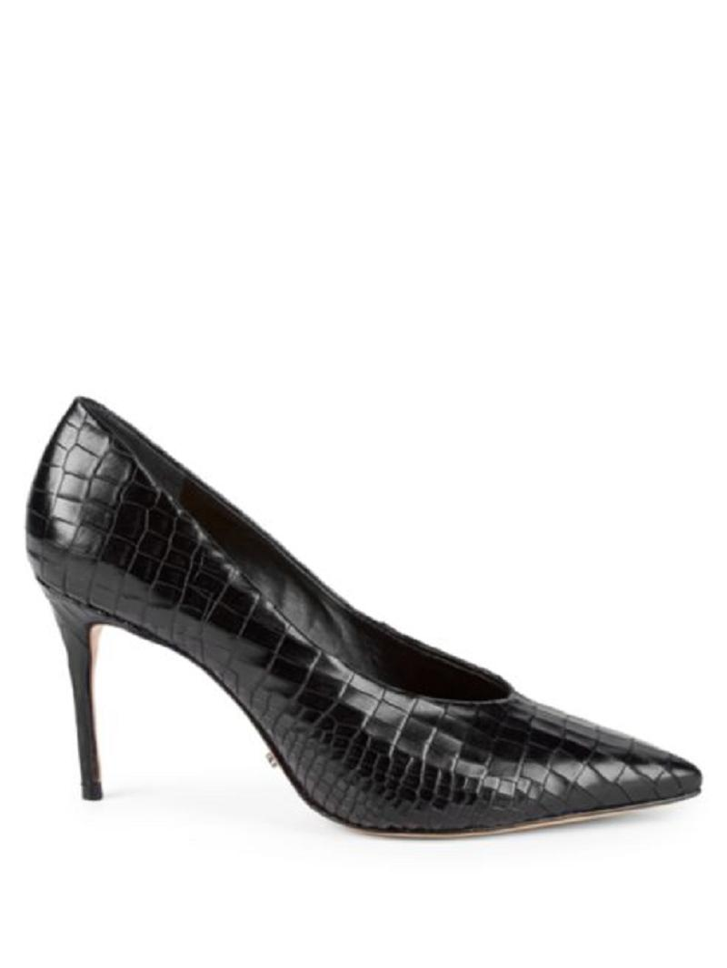 deacaa638 ... SCHUTZ Black Salma Croc Textured Leather Pointed Pointed Pointed Toe Pumps  Size US 7.5 Regular ...