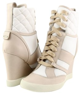 See by Chloé Chloe Ch22292 Ice White Taupe Designer Wedge Sneaker Booties Multi-Color Athletic