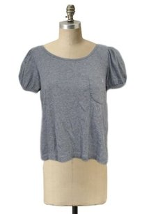 See by Chloé Chloe Heather Cropped Tee Shirt Puff Sleeves Loose Fit Top Gray