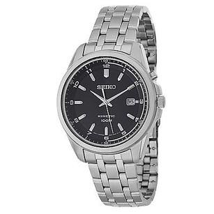 Seiko Seiko Kinetic Black Dial Stainless Steel Mens Watch Ska633