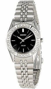 Seiko Seiko Ladiessolar Powered Swarovski Crystals Watch Sup091 Broken Sold As Is