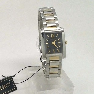 Seiko Seiko Womens Black Dial Silver Gold Square Watch Sujg15 Band Has Scratches