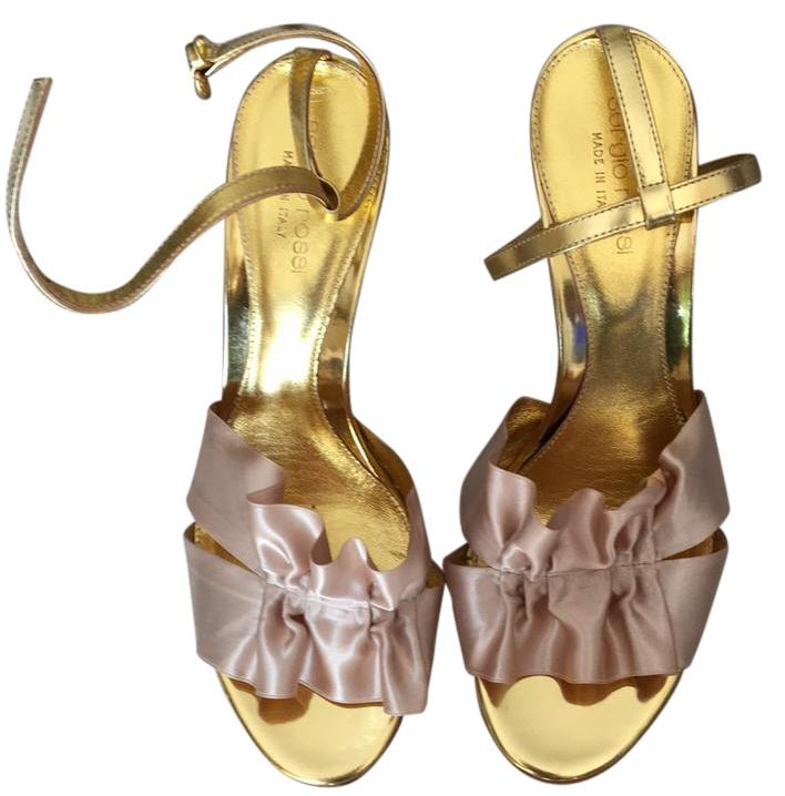 Sergio Rossi Gold Powder Pink Satin Size Satin Pink and Heals Sandals Size Pink ... 8d7546