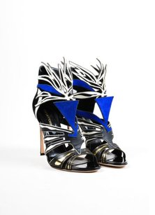 Sergio Rossi Black White Blue Multi-Color Sandals