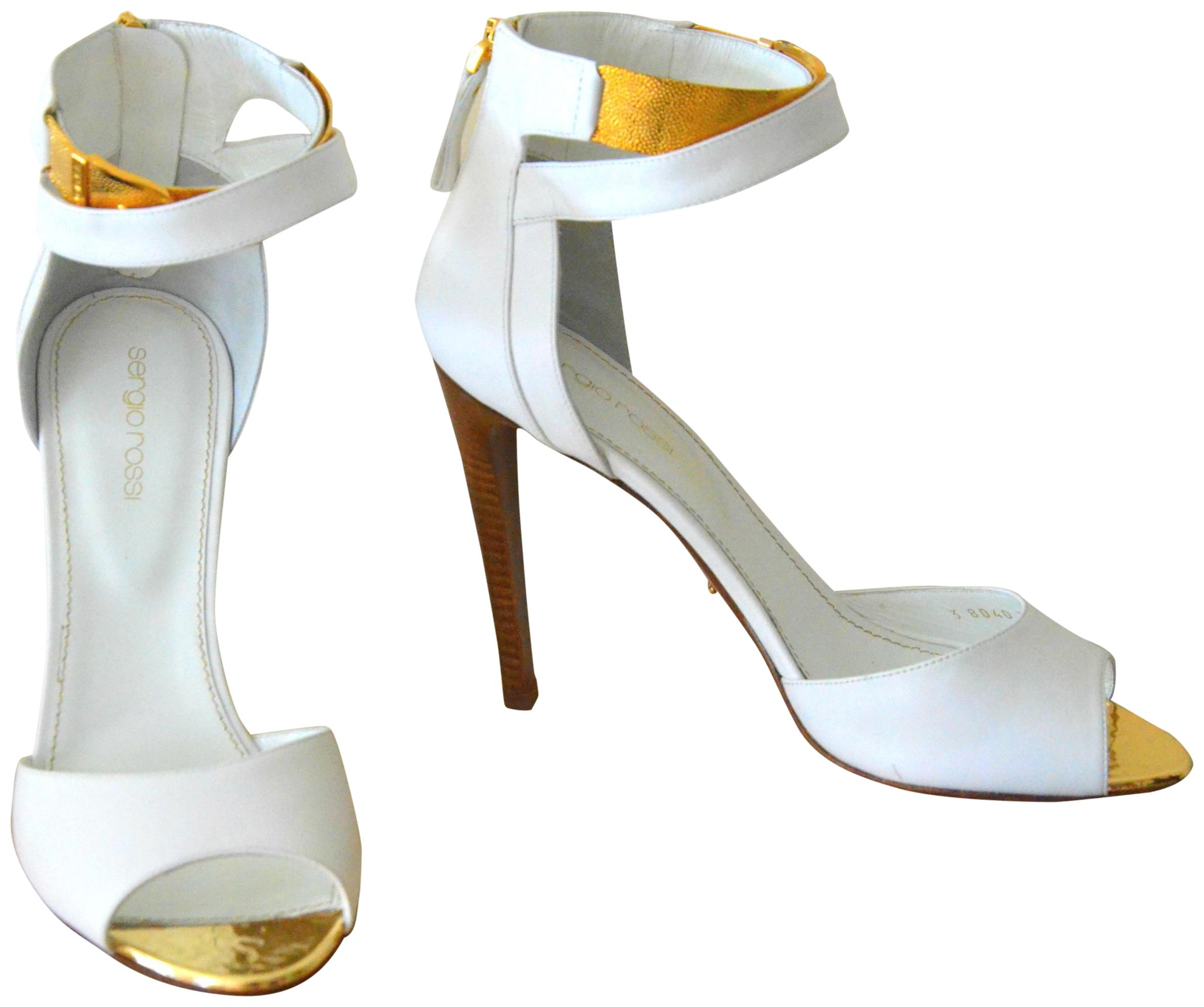 Sergio Rossi White Leather Gold Ankle Strap Evening 39.5/8-8.5 Sandals Size EU 39.5 (Approx. US 9.5) Regular (M, B)