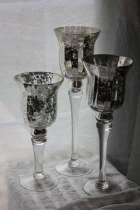 Set Of 18 Mercury Glass Pedestal Vases Candle Holders Free Shipping